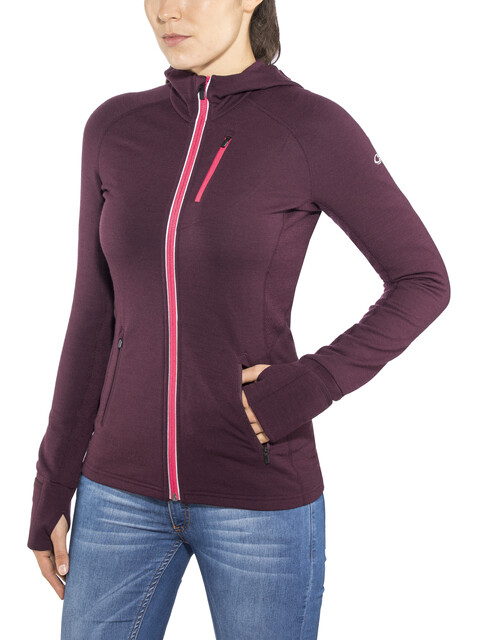 Icebreaker Quantum LS Zip Hood Jacket Women velvet-prism